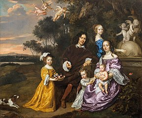 Family Group by an Ornamental Fountain in a Pastoral Landscape