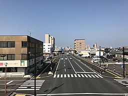 Japan National Route 3 from Asahi Footbridge in Yatsushiro, Kumamoto (west).jpg