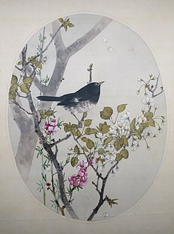 Japanese Thrush with Flowering Quince and Wild Cherry by Watanabe Seitei.JPG