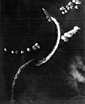 Japanese aircraft carrier Hiryu dodging bombs on 4 June 1942 (USAF-3725).jpg