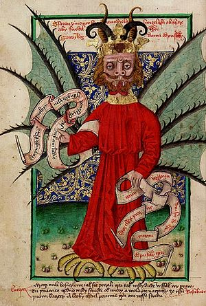 Indulgence - Satan distributing indulgences, an illumination from a Czech manuscript, 1490s; Jan Hus (the main leader of the Bohemian Reformation) condemned the selling of indulgences already in 1412