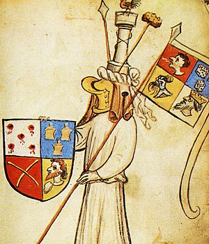 Attributed arms - Example of arms attributed to Jesus from the 15th-century Hyghalmen Roll, based on the instruments of the Passion