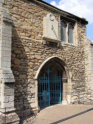 Wisbech Grammar School - The south porch of St Peter's church, Wisbech. The school originally met in the room above