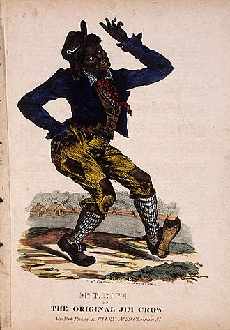 "Jim Crow laws - Cover of an early edition of ""Jump Jim Crow"" sheet music (circa 1832)"