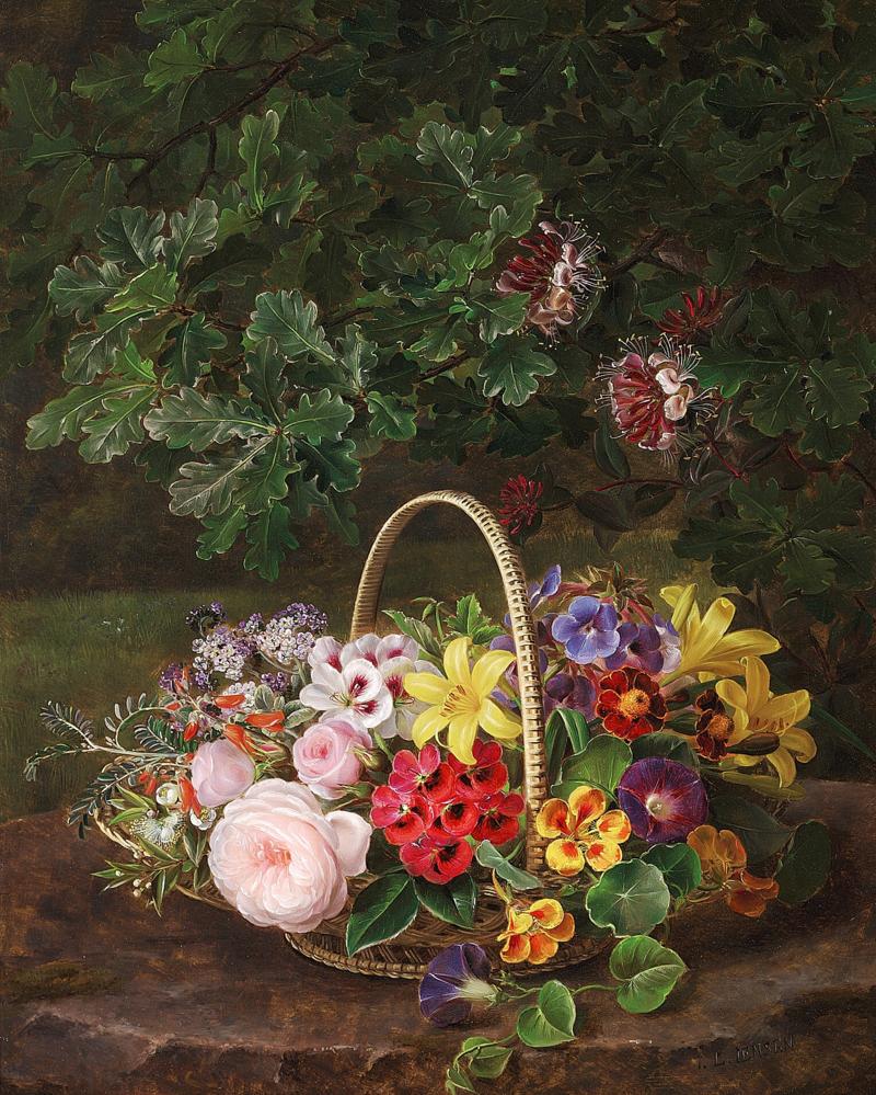 Johan Laurentz Jensen - Roser, liljer, høstfloks, tallerkensmækkere og andre blomster i en kurv på en træstub under en gren med egeløv og kaprifolier..png