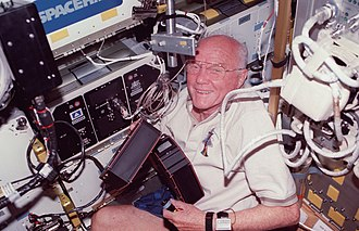 John Glenn - Senator-astronaut John Glenn on the Space Shuttle Discovery in 1998