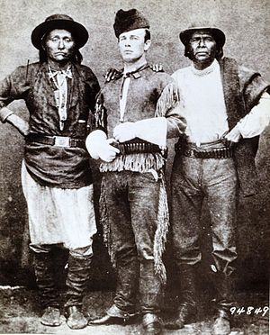 John Clum - John Clum (center) with Indians Diablo and Eskiminzin on the San Carlos Agency in 1875