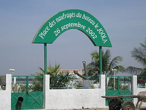 MV Le Joola - Memorial plaza in Ziguinchor near the place passengers embarked on MV Le Joola