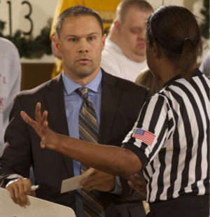 Emporia State Lady Hornets basketball - Head Coach Jory Collins during a game in November 2015.