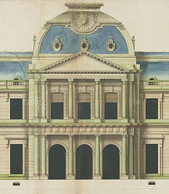 Château de Clagny - Elevation of the central pavilion of the Chateau, by Jules Hardouin-Mansart
