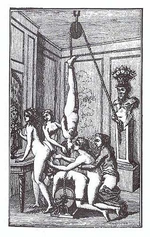 Marquis de Sade bibliography - Illustration of a Dutch printing of the book Juliette by the Marquis de Sade, c. 1800