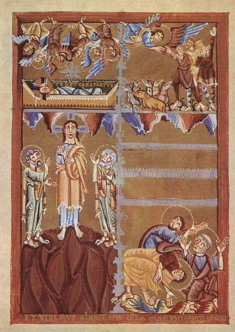 Transfiguration of Jesus in Christian art - Image: Kölner Meister eines Evangelienbuches 001