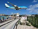 KLM Airplane Landing Passing Over Maho Bay Beach 3 (6544009185).jpg
