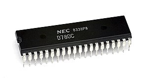 A Zilog Z80 processor, the CPU in the Master System