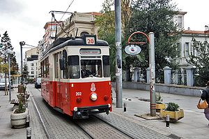 Istanbul nostalgic tramways - Top: Two heritage trams on the European side, on the Taksim-Tünel (T2) Nostalgia Tramway. Bottom: Istanbul 202 (ex-Jena 102) on the Asian side, on the T3 circular nostalgia tramway.