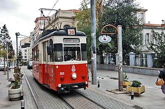 Istanbul nostalgic tramways - Top: Two heritage trams on the European side, on the Taksim-Tünel (T2) Nostalgia Tramway. Bottom: Istanbul 202 (ex-Jena 102) on the Asian side, on the T3 circular nostalgia tramway.