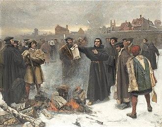 Exsurge Domine - Image: Karl Aspelin Luther uppbränner den påfliga bullan