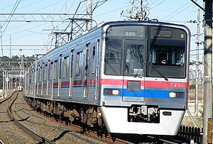 Keisei Main Line - A Keisei 3700 series EMU on the Keisei Main Line in January 2009