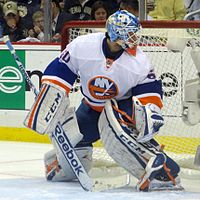Kevin Poulin in front of his goalie net.