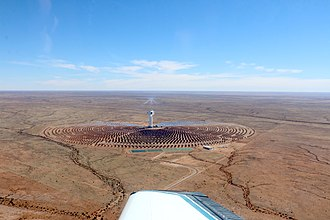 Concentrated solar power - Bird's eye view of Khi Solar One, South Africa