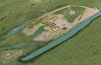 Kincaid Mounds State Historic Site - Illustration of the late occupation phase of the site circa 1300 CE