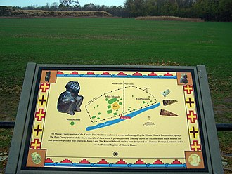 Kincaid Mounds State Historic Site - Diagram of site on one of three information plaques on display