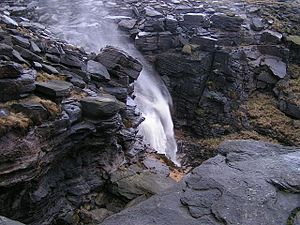 Pennines - Kinder Downfall, a waterfall on Kinder Scout, Dark Peak