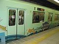 Kintetsu 3220 series car 3822 with Nara wrapping on Kyoto Subway Karasuma Line 2006-04-04.jpg