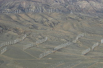 Tehachapi Pass wind farm - Aerial view of the Tehachapi Pass wind farm