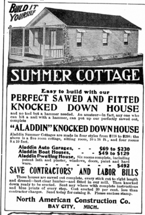 Knock-down kit - Advertisement for knocked down kits for houses, in Popular Mechanics, May 1908.