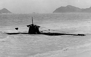 Ha-19 grounded in the surf on Oahu after the attack on Pearl Harbor, December 1941