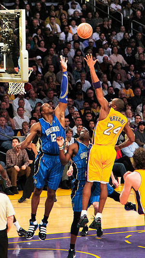 Dwight Howard - Howard contests a shot by Kobe Bryant of the Los Angeles Lakers