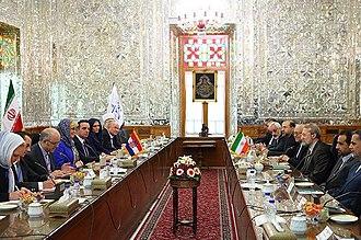 Ali Larijani - Larijani meeting with Croatian President Kolinda Grabar-Kitarović, 2016
