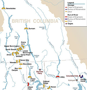 Corra Linn Dam - Map highlighting major dams and reservoirs in the Kootenay River watershed and surrounds