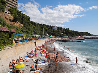 Tourism is an important sector of Crimea's economy Koreiz - beach3.jpg