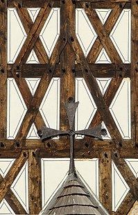 Detail of a half-timbered wall of the Holy Trinity Church in Świdnica
