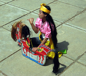 Temanggung Regency - A female dancer performing Kuda Lumping in Cemoro Village, Temanggung