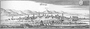 Eschwege - Copper engraving of Eschwege in 1655 (Matthäus Merian)
