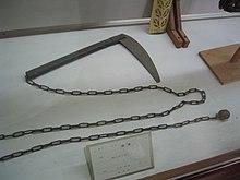 Una kusarigama, l'arma utilizzata in battaglia da Hanzo