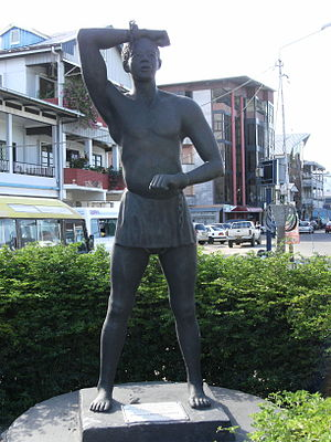 Keti Koti - Kwakoe statue in Paramaribo, representing a former slave whose chains are cut