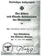 Lütjens Ritterkreuz