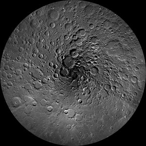 Stereographic projection - A stereographic projection of the Moon, showing regions polewards of 60° North. Craters which are circles on the sphere appear circular in this projection, regardless of whether they are close to the pole or the edge of the map.