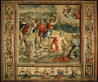 The Stoning of Saint Stephen, from Gonzaga version of the Sistine Chapel tapestries, designed by Raphael, c. 1519 La lapidazione di S. Stefano.jpg
