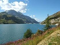 Le lac en ao t 2009 avec le barrage au fond - Lac du chevril ...