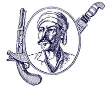 Sketch portrait of middle-aged moustachioed man with bandana. The portrait is encircled by a pistol and dagger.