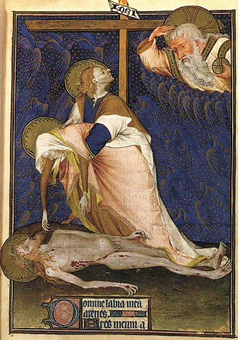 Lamentation of the Virgin. John the Apostle trying to console Mary, 1435 Lamentation of the Virgin Rohan.jpg