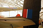 Lancaster FM136 right tail fin at Aero Space Museum of Calgary Flickr 6202269104.jpg