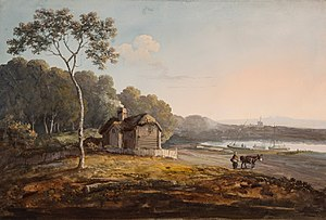John Laporte (artist) - Cottage by an estuary, gouache, formerly in the collection of Henry Rogers Broughton, 2nd Lord Fairhaven