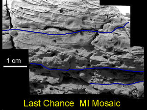 "Meridiani Planum - Cross-bedding features in rock ""Last Chance""."