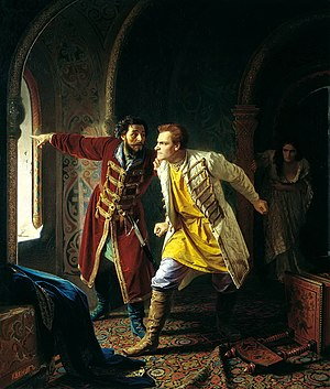 False Dmitry I - Last minutes of False Dmitry by Carl Wenig (1879).